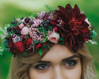 Burgundy flower crown, Burgundy wedding, Hair wreath, burgundy hair piece, Burgundy bouquet, Burgundy head piece Bordo crown,