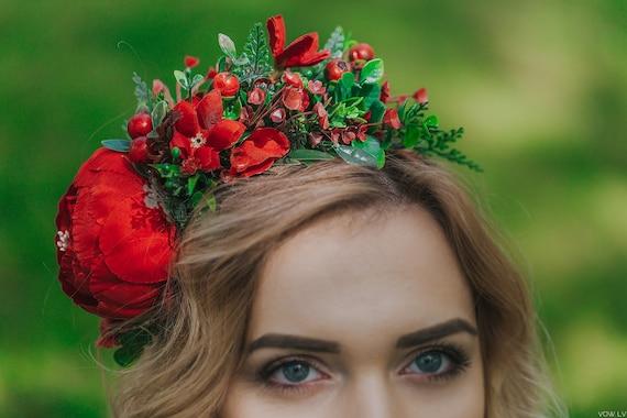 Quality Red Rose Bridal Bridesmaid Hair Crown Wedding Party Flower Headband Hair Accessories Halloween Headpiece Superior In