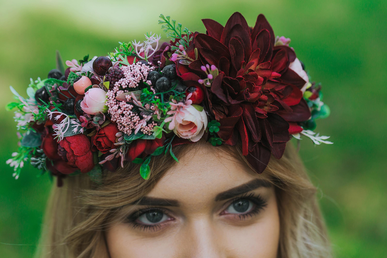 Burgundy Flower Crown Burgundy Wedding Hair Wreath