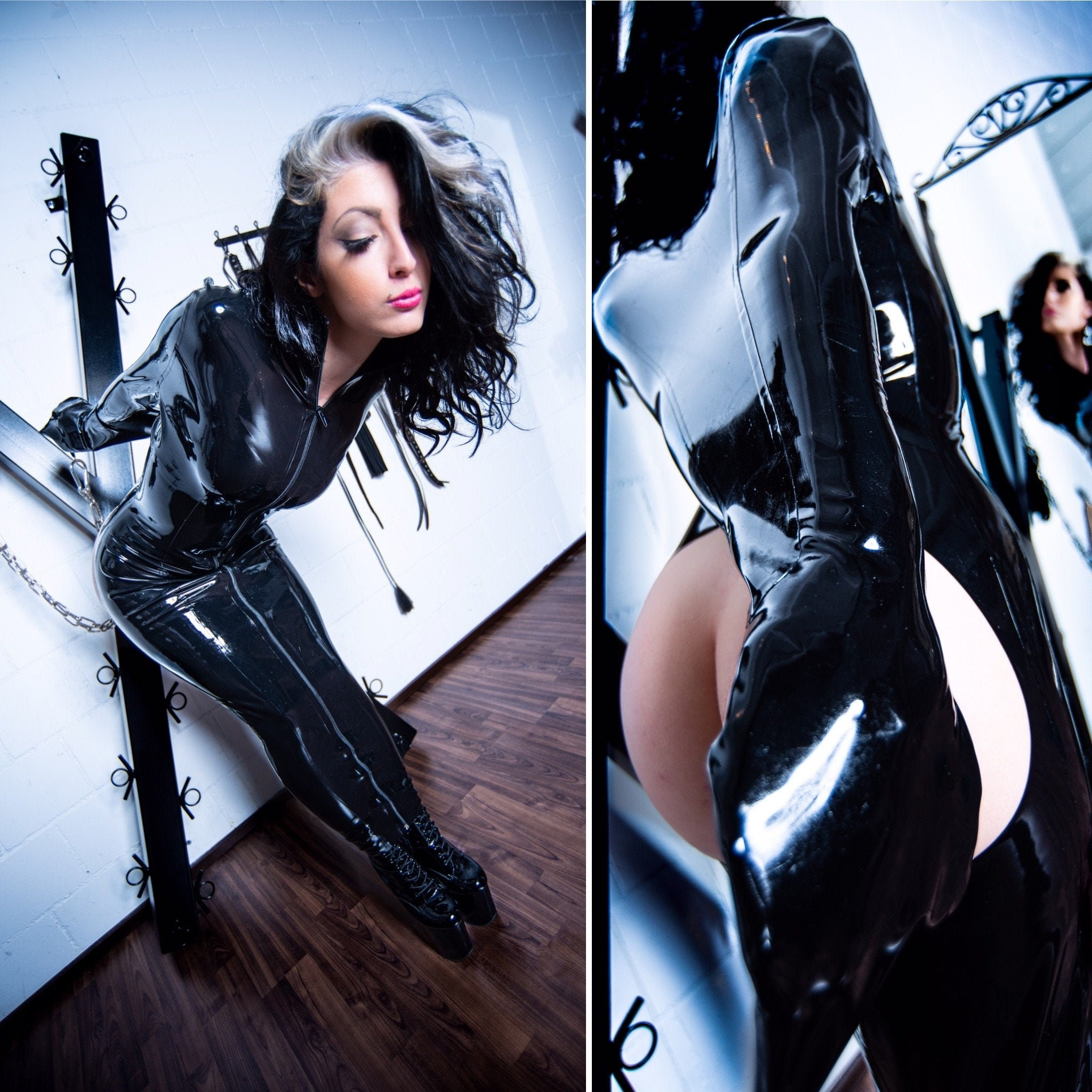 Armbinder hobble latex bondage dress. Made to measure only