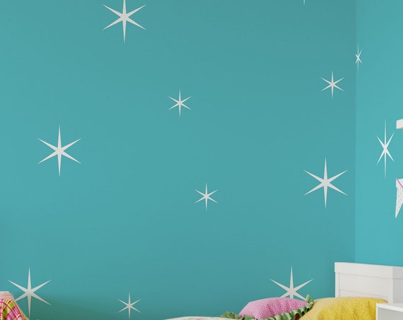 Star Wall Decals - Retro Stars Vinyl Wall Decals, 10 Sparkle Stars Confetti ABST13 - 2 Sizes Sparkle Stars Decals - Nursery Star Decals