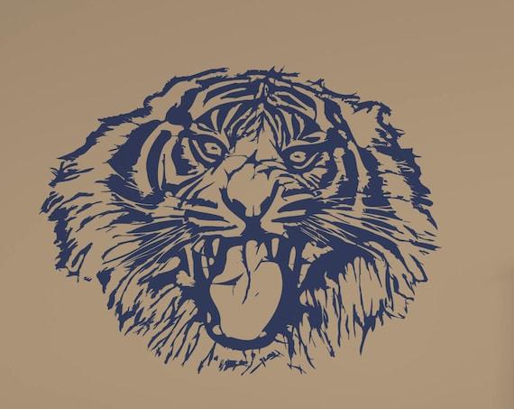 Tiger Head Vinyl Wall Art Decal
