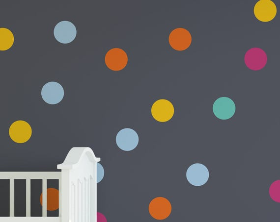 "5"" Inches Polka Dot Wall Decals- 5 Inches Polka Dots Wall Decor -5 Inch Circle Vinyl Decals Polka Vinyl Wall Stickers"