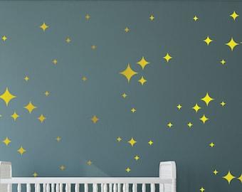 Star Wall Decals - Retro Stars Vinyl Wall Decals, 87 Diamond Stars Confetti  ABST10 - 4 Sizes Diamond Stars Decals - Nursery - Star Decals