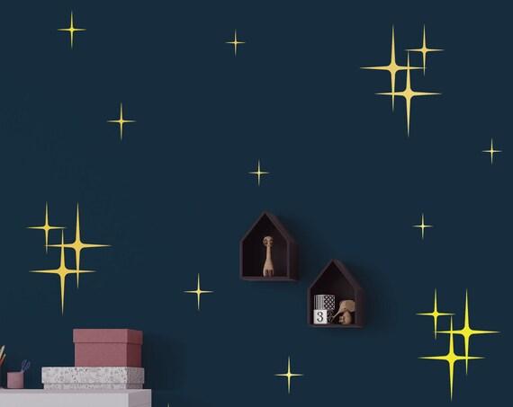 Retro Starbursts Vinyl Wall Decals, Confetti Stars - Nursery Decor - Cluster Sparkle Star Decals ABST2
