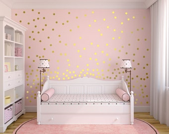 0b8a596b6 Metallic Gold Wall Decals Polka Dot Wall Sticker Decor - 1