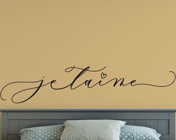 JE T'AIME Decal Wall Words Vinyl Lettering (I love you in French) Bedroom Decor quote Vinyl Wall Decal