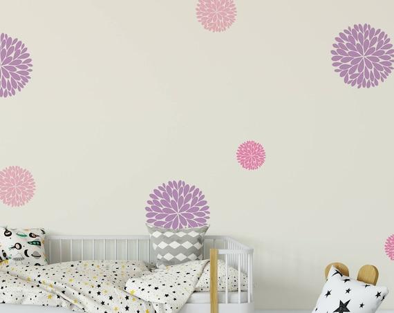 Dahlia Flowers Vinyl Wall Art Decal- Dahlia Flowers Wall Decals- Nursery Wall Decal- Girls Wall Decal