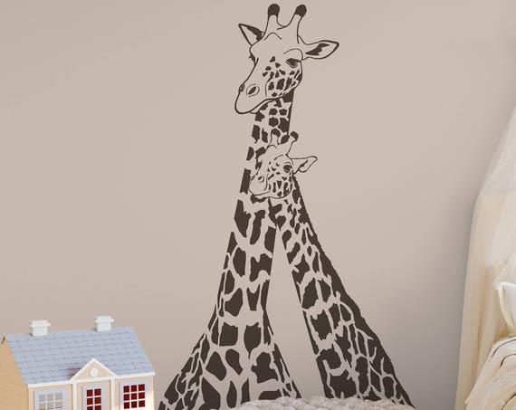Giraffe Wall decal, Giraffe Family Decor, Giraffe Wall Art, Giraffe Wall Sticker, Jungle Art Mural Safari Decals