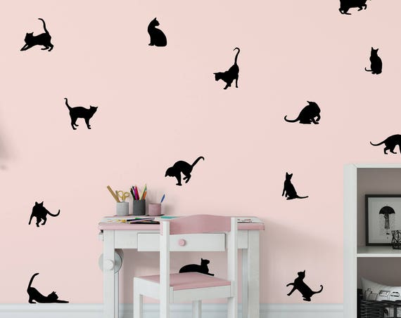 Cat Decal - Black Cats Wall Decal - Cats Stickers - Cat Vinyl Wall Decals - Set of 42 Cat Wall Decals ABPT17-l