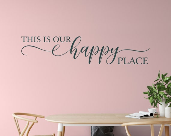 This is Our Happy Place Vinyl Wall Decal - Bedroom Sticker-  Home Decor Vinyl Lettering