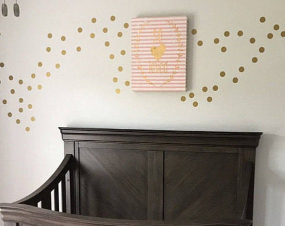 "Gold Metallic Polka Dot Wall Sticker Decor - 1"" Inch, 1.5"",2"",2.5"",3"", 3.5"", 4""  Inches Polka Dot Wall Decal Circle Vinyl Decals"