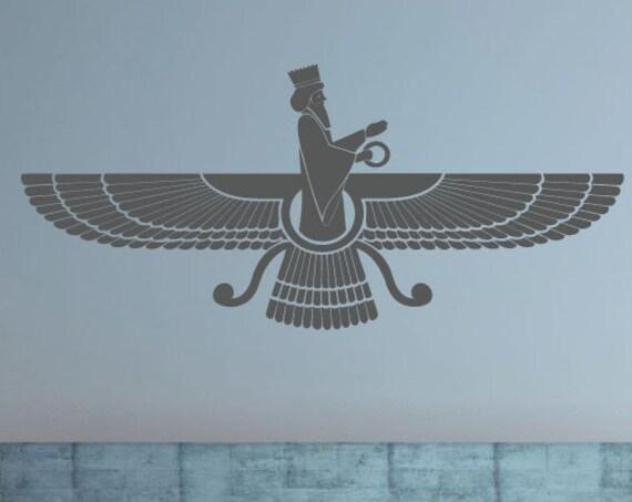 Persian Art Faravahar, Farvahar, Paravahar, Zoroastrianism, Vinyl Wall Art Decal, Vinyl Sticker
