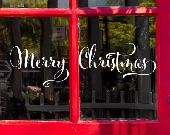 Merry Christmas Decal   - Merry Christmas Vinyl decal - Entry Way Door Decal - Holidays - Wall Word Decor