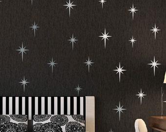 Metallic Silver Retro Starbursts Vinyl Wall Decals, Confetti Stars ABST7 - Nursery Decor - Sparkle Star Decals