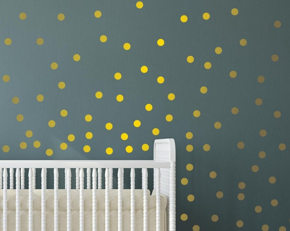 """Gold Metallic Polka Dot Wall Sticker Decor-1"""" Inch,1.5"""",2"""",2.5"""",3"""",3.5"""",4"""",4.5"""",5"""",6""""  Inches Circle Vinyl Decals Wall Decal Stickers"""