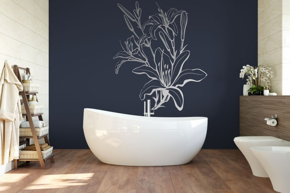 Flowers, Lilies, Lily Flower Vinyl Wall Art Decal ABFL4