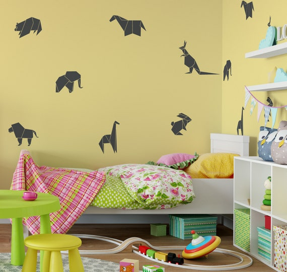 origami animal wall decal paper animal art paper animal   etsy