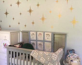 Metallic Gold Retro Starbursts Vinyl Wall Decals, Confetti Stars ABST8 - Nursery Decor - Sparkle Star Decals
