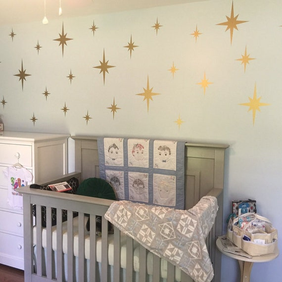 Metallic Gold Retro Starbursts Vinyl Wall Decals, Confetti Stars ABST8 - Nursery Decor - Sparkle Star Decals