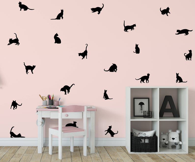 Cat Wall Decal Kitten Wall Decal 21 Cats StickerKitty Decal image 0
