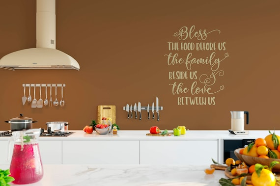 Bless the Food Before Us, the Family Beside Us, and the Love Between Us, Amen Vinyl Wall Decal Quote Wall Decal