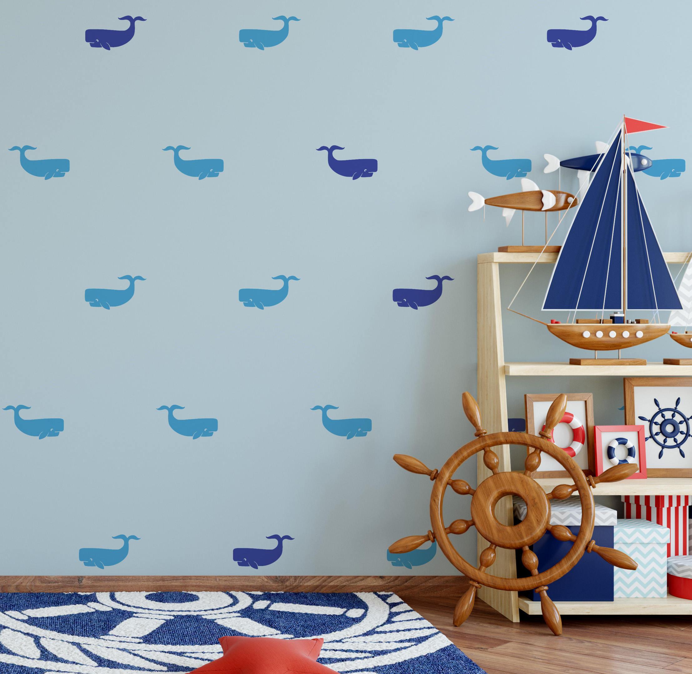 Whale Wall Decal Kids Room Wall Decal Nursery Wall Decor Fish