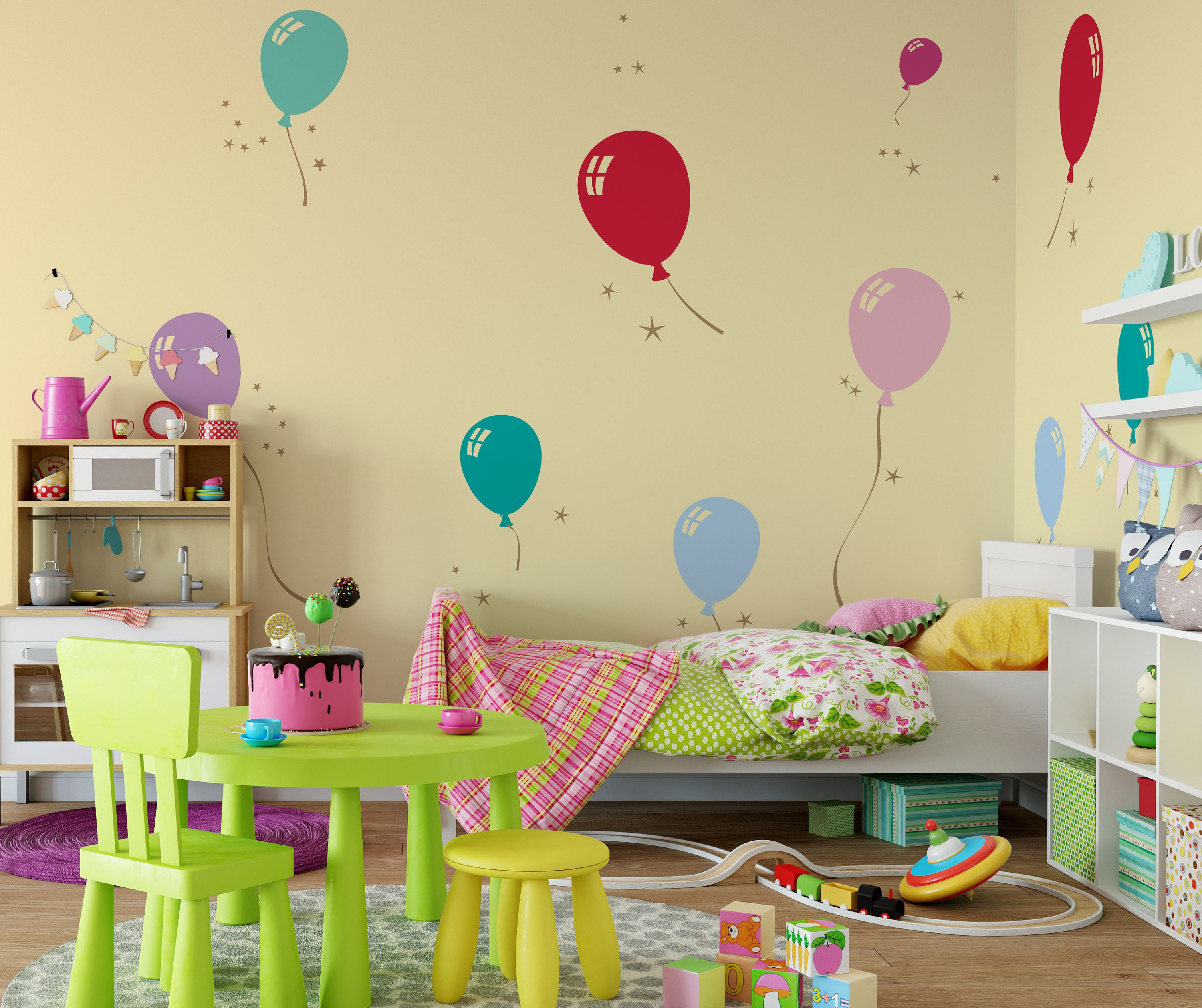 Party Balloons and Stars Home Vinyl Decal Sticker Kids Nursery Baby ...
