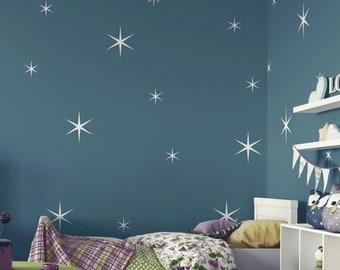Star Wall Decals - Retro Stars Vinyl Wall Decals, 18 Sparkle Stars Confetti ABST13 - 2 Sizes Sparkles Nursery Wall Decal Girl