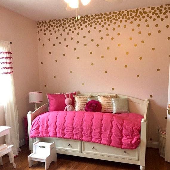 "2"" Inches Polka Dot Wall Decal, Gold Polka Dots Wall Decals , Two Inches Polka Dot vinyl Decals ,Kids Room Wall Sticker & Nursery Decor"