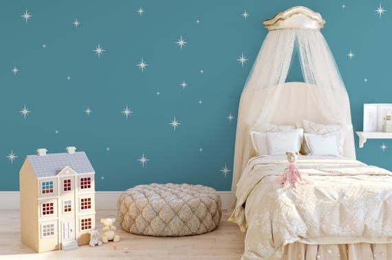 Retro Starbursts Vinyl Wall Decals, Confetti Stars - Nursery Decor ABST15- Sparkle Star Decals
