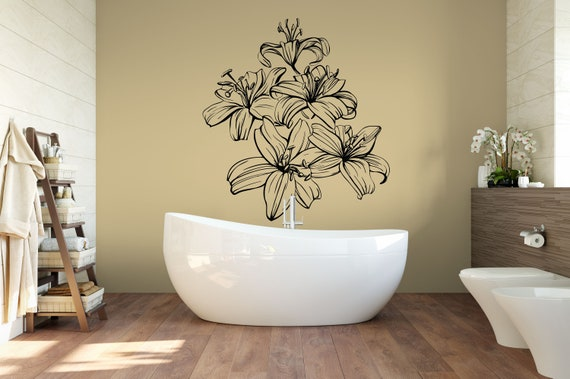 Flowers, Lilies, Lily Flower Vinyl Wall Art Decal ABFL2