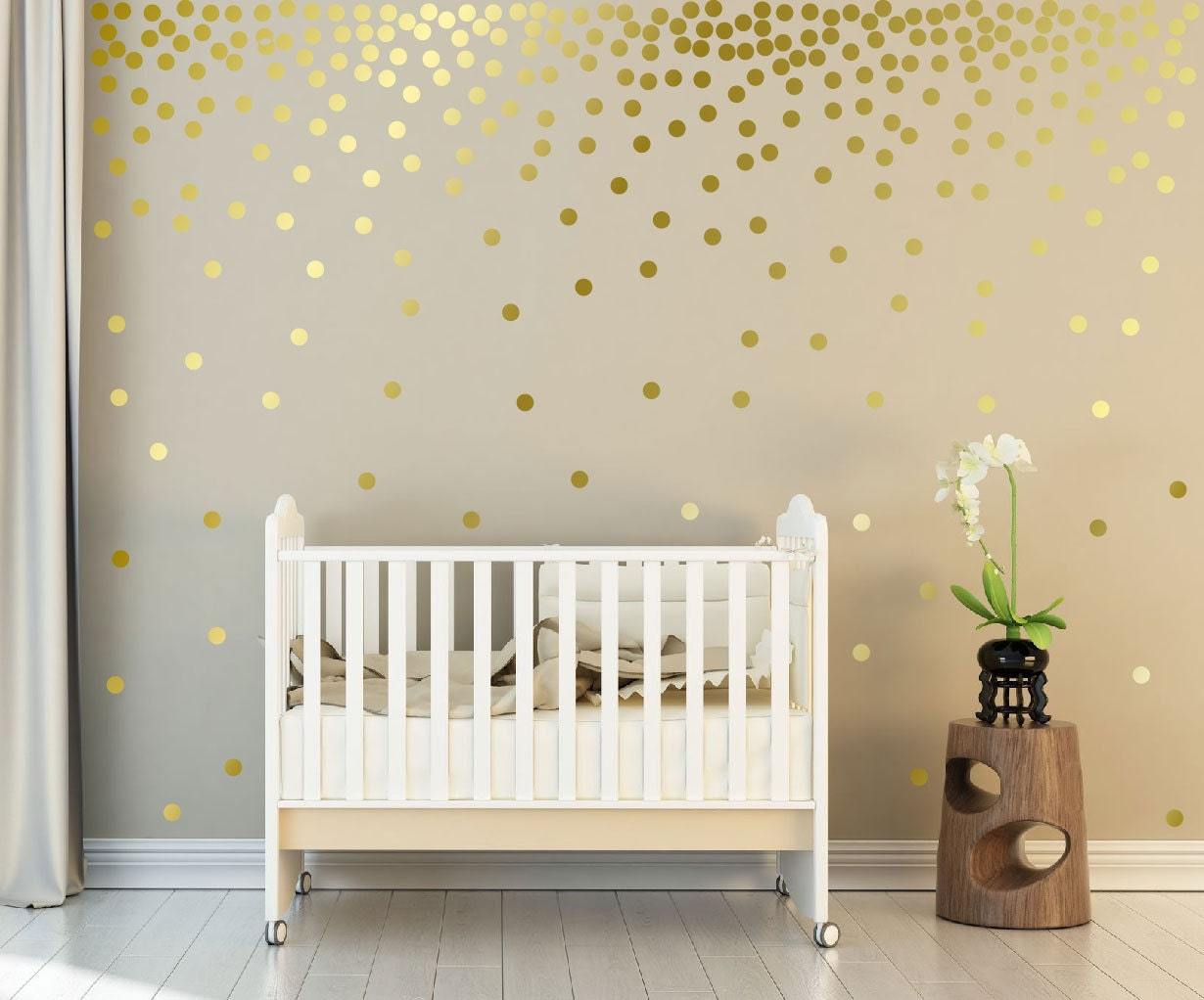 Metallic Gold Wall Decals Polka Dots Wall Decor   1 Inch, 1.5,2,2.5,3, 3.5,  4 Inches Circle Vinyl Decals Dot Wall Stickers