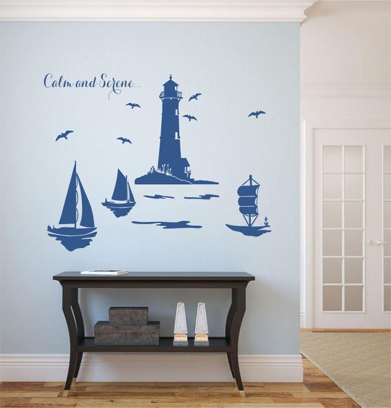 Calm And Serene, Lighthouse, Sailbouts, Seagulls Vinyl Wall Art Decal