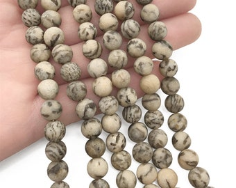 8mm Matte Graphic Feldspar Beads, Round Gemstone Beads, Wholesale Beads