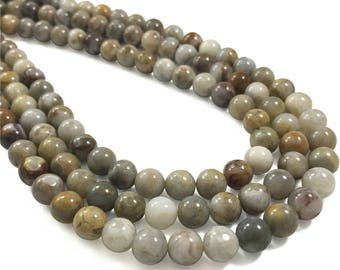 8mm Bamboo Leaf Agate Beads, Round Gemstone Beads, Wholesale Beads