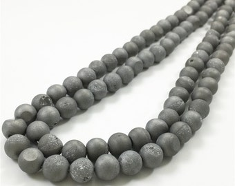 8mm Druzy Agate Beads, Geode Agate Beads, Round Gemstone Beads, Wholesale Beads