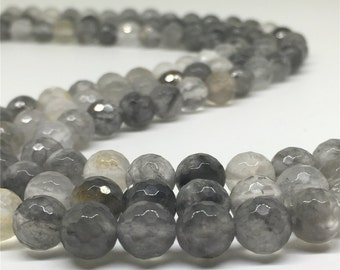 8mm Faceted Gray Quartz Beads, Gemstone Beads, Wholesale Beads