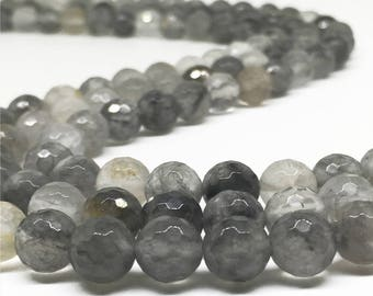 10mm Faceted Gray Quartz Beads,Gemstone Beads,Wholesale Beads