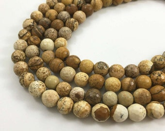 8mm Faceted Picture Jasper Beads, Gemstone Beads