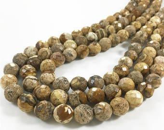 10mm Faceted Picture Jasper Beads, Gemstone Beads, Wholasela Beads