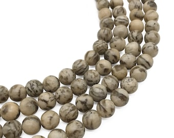 8mm Graphic Feldspar Beads, Round Gemstone Beads, Wholesale Beads
