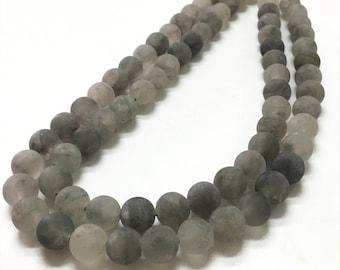 10mm Matte Gray Quartz Beads, Round Gemstone Beads,Wholasela Beads