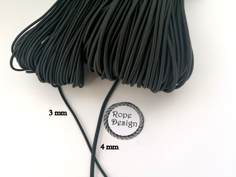 Elastic rubber Sewing supplies BlackWhite Elastic drawcord Round elastic cord 3 mm and 4 mm Round stretch cord DIY face mask