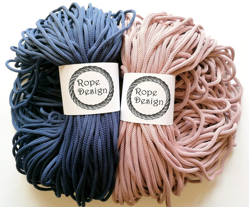 Macrame cord 6 mm cord Chunky colored rope Polyester strong rope Cotton rope Cord for crochet Craft macrame project Nylon strong soft rope
