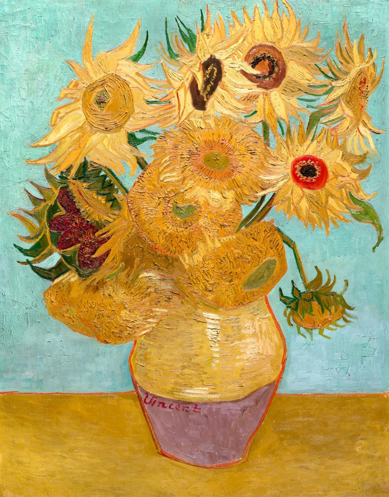 Vincent Van Gogh 1889 Sunflowers Hd Canvas Print Or Art Print Artwork Wall Poster Impressionism Print On Canvas Van Gogh Sunflower Vase