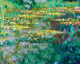 Monet 1919, Le Bassin des Nympheas Lily, Lilies, HD Canvas Print or Art Print, Vintage Antique Artwork Wall Poster French Impressionism