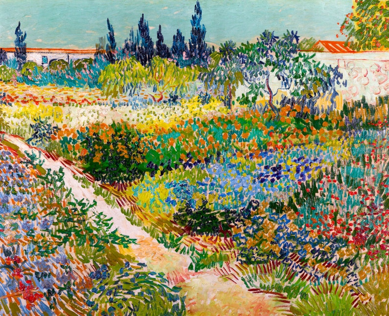 Vincent Van Gogh 1889 Garden At Arles Hd Canvas Print Or Art Print Artwork Wall Poster Impressionism Print On Canvas Van Gogh Flowers
