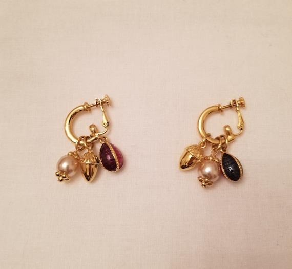 JOAN RIVERS 3 Charm Hoop Earrings