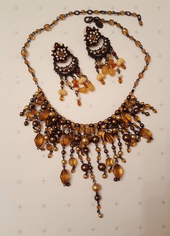 REDUCED!!!  JOAN RIVERS Fringe Necklace & Earrings - image 1